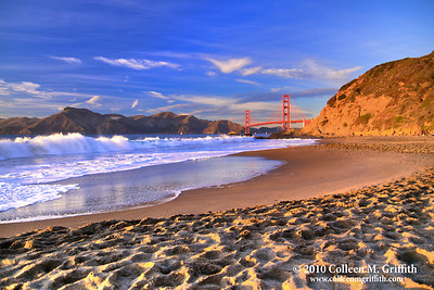 Sunset On The Beach ©  2010 Colleen M. Griffith. All Rights Reserved.  This material may not be published, broadcast, modified, or redistributed in any way without written agreement with the creator.  This image is registered with the US Copyright Office. www.colleenmgriffith.com www.facebook.com/colleen.griffith  This San Francisco beach has the best of both worlds:  a wonderful view of the iconic Golden Gate Bridge and a seemingly endless view of the majestic Pacific Ocean and Marin Headlands.  You can see more of my San Francisco photos, by going to my San Francisco gallery: www.colleenmgriffith.com/Galleries/San-Francisco/San-Francisco