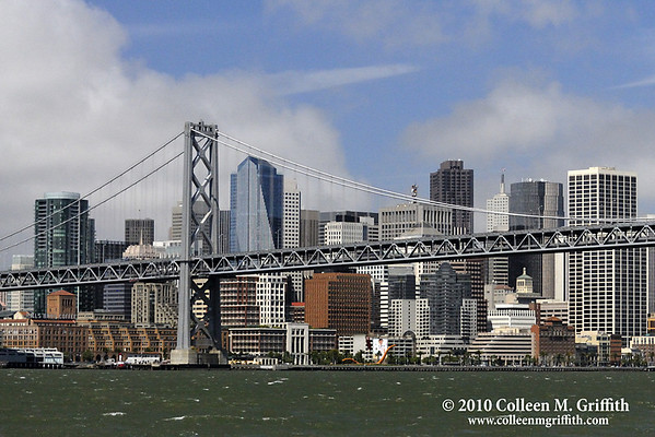 "Bay Bridge and San Francisco Skyline  © 2010 Colleen M. Griffith. All Rights Reserved.  This material may not be published, broadcast, rewritten, or modified in any way without permission. www.colleenmgriffith.com <a href=""http://www.facebook.com/colleen.griffith"">Friend Colleen on Facebook</a>"