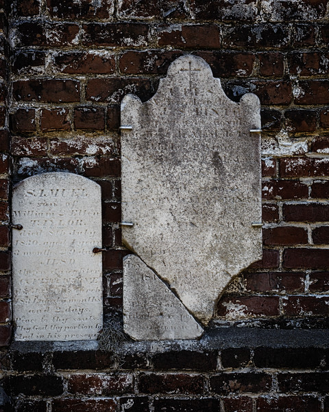 Established by Christ Church in 1750 Colonial Park Cemetery, is Savannah's oldest existing burial ground.  Old , Fragile and Broken tombstones were lined against the South wall to preserve them.