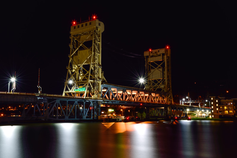 Portage Canal Lift Bridge at night 01