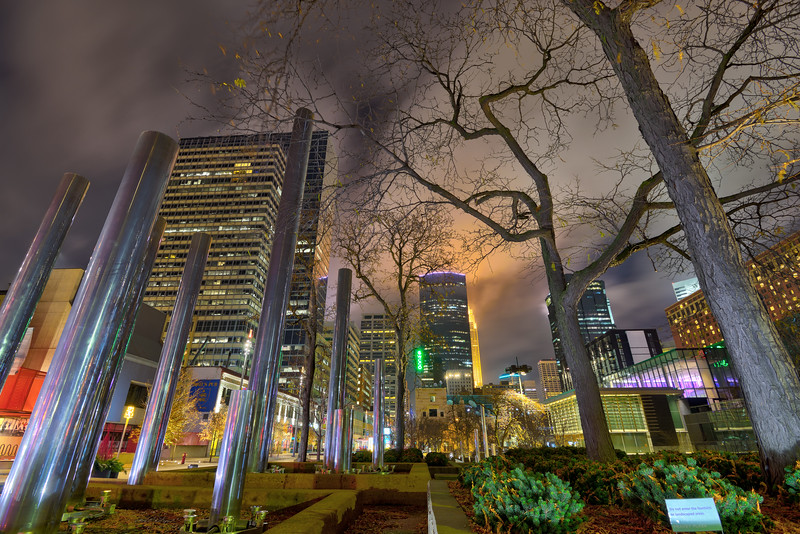 Peavey Plaza at night 01