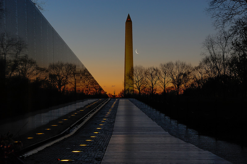 Vietnam Veterans Memorial and Washinigton Monument with crescent Moon 02