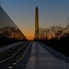 Vietnam Veterans Memorial and Washinigton Monument with crescent Moon 02