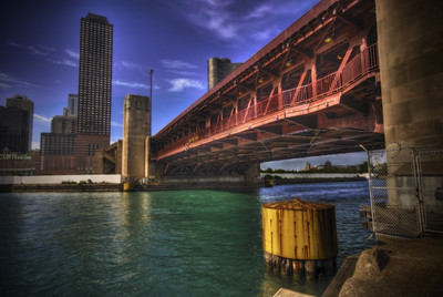 Lakeshore Drive draw bridge over the Chicago River