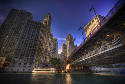 The Chicago river and the Wrigley Building