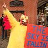 Protester in a chicken costume at the Occupy Portland movement in Portland Oregon.