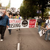 Marching at the Occupy Portland movement in Portland Oregon.