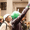 Protesters march past the United States National Bank at the Occupy Portland movement in Portland Oregon.