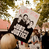 Jobs with Justice signs at the Occupy Portland movement in Portland Oregon.