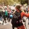 A tall-bike riding protester at the Occupy Portland movement in Portland Oregon.