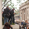 The media looks for a good angle at the Occupy Portland movement in Portland Oregon.
