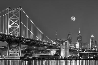 Full Moon Over Ben Franklin Bridge, Penn Presbyterian Center for Advance Care