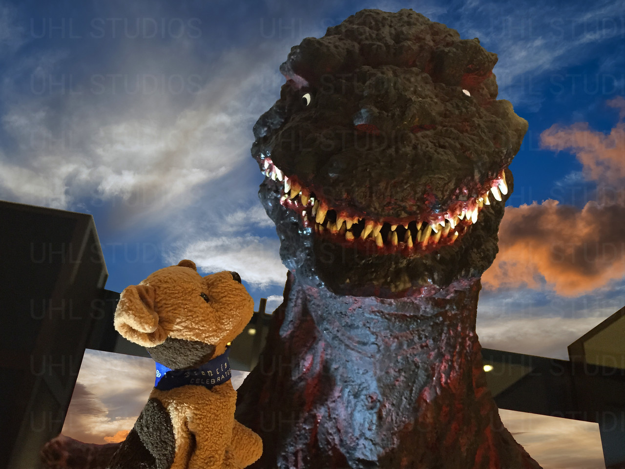 Kai with Godzilla
