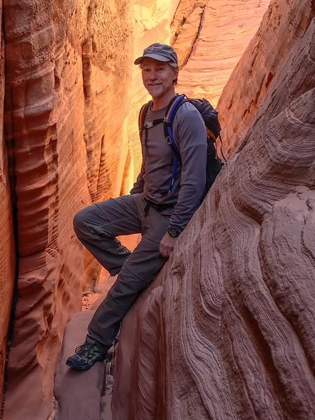 Larry Lindahl, Fatman Slot Canyon, Lake Powell, 2018, (Photo by Nina Rehfeld)