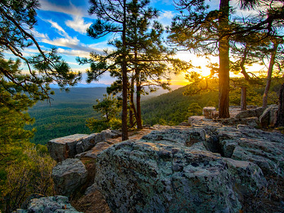 Military Sinkhole Vista Point on the Mogollon Rim at sunset.