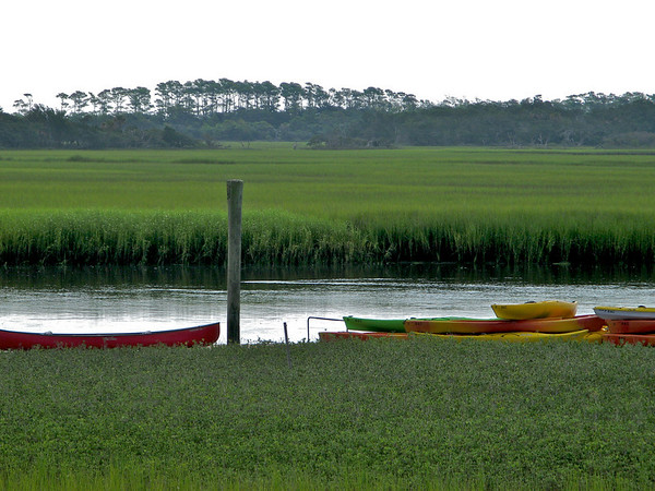 Kayak's in the marsh.