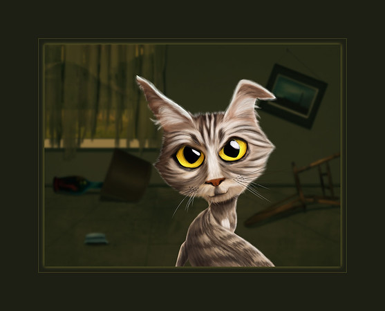 Digital Illustrative Art of Cat