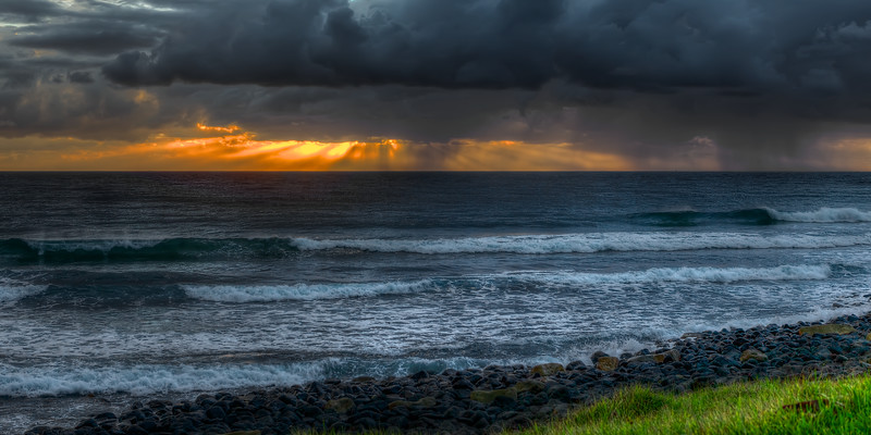 Sunset Storm over the Ocean. ~WIDE VIEW~