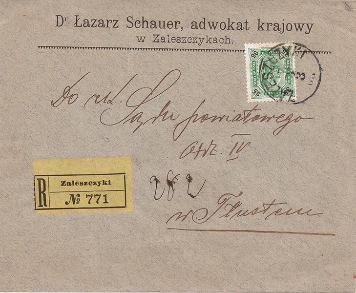 Поштова картка: Д-р Лазар Шауер, адвокат крайовий в Заліщиках