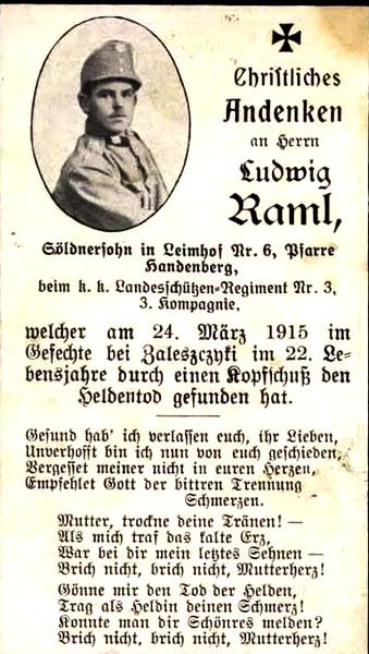 614. Повідомлення про загибель вояка австро-угорської армії