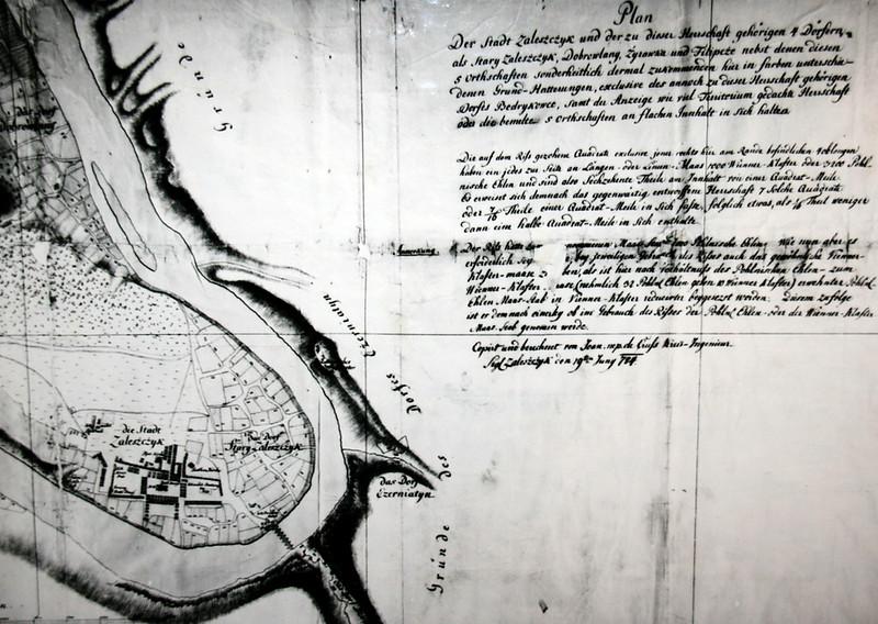 114. Копія карти Заліщиків. 2-а половини ХVIII століття.
