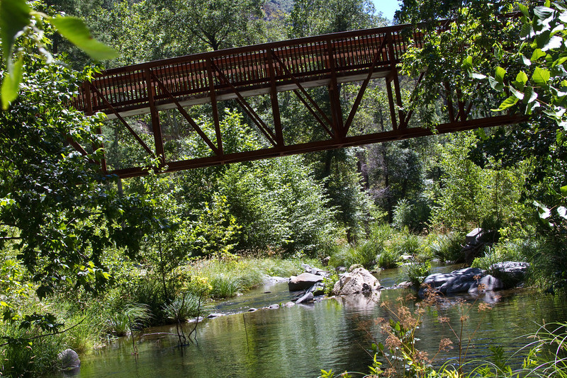 This is a private bridge that crosses the Oak Creek by Sedona, Arizona.