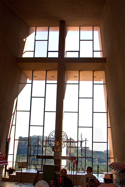 Chapel of the Holy Cross in Sedona, Arizona. This photograph was done inside the chapel looking out through the windows with the bold cross of its facade.