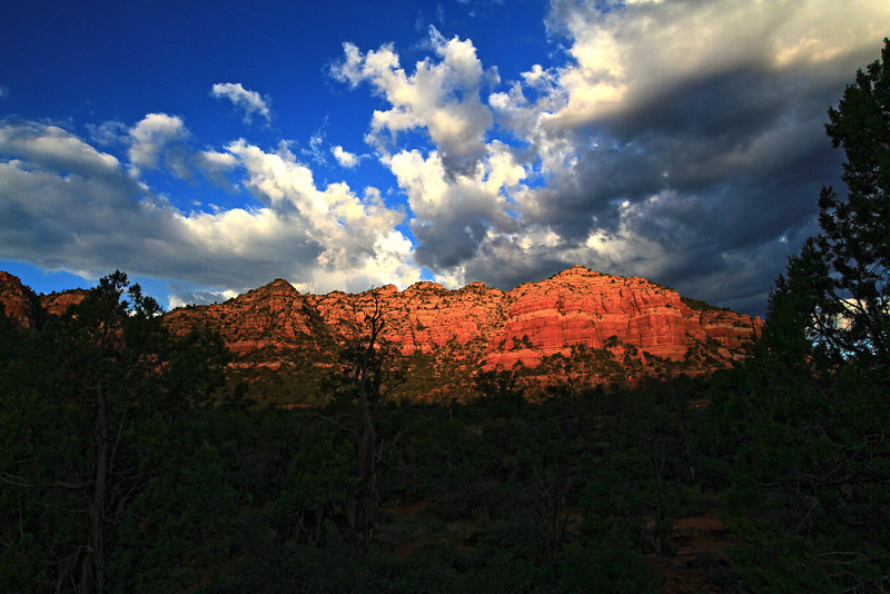 This photograph was made with three images and produced in a HDR format. The photograph was taken in the Red Rocks of Sedona, Arizona just before dawn.