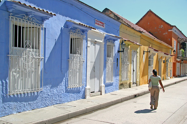 Sunny Street with Colored Houses (Cartagena, Colombia)