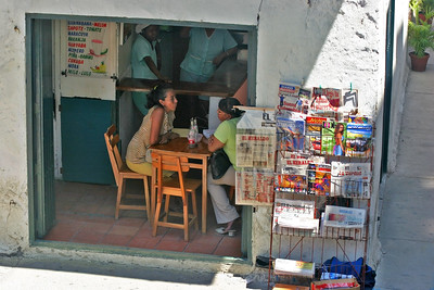On the Streets of Cartagena - 6, Chatting in a small restaurant