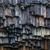 Broken basalt columns, near Svartifoss black waterfall;  A proposed UNESCO World Heritage site, Iceland.