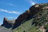Cliff wall along Moccasin Mesa - composed of Point Lookout sandstone - under the cirrus clouds - Mesa Verde National Park