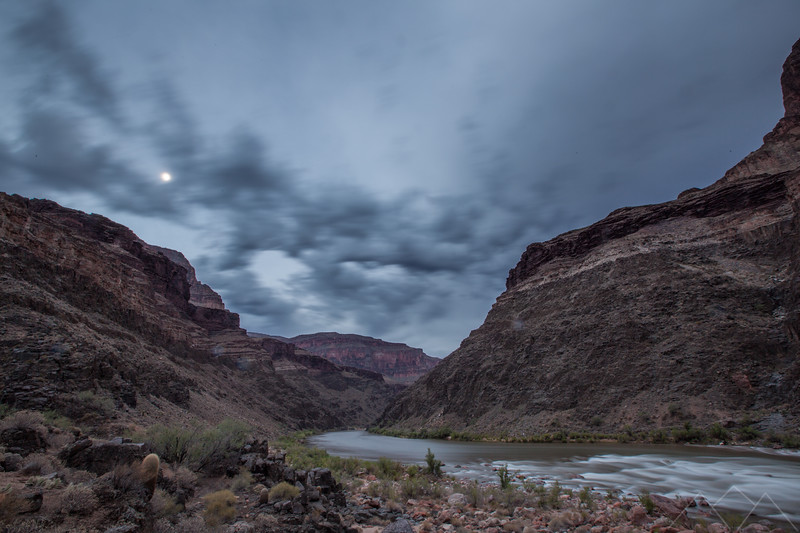 Full moon over Deubendorff Rapid, Grand Canyon