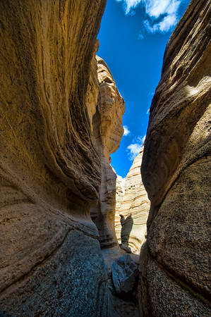 Nude light woman of Tent Rocks slot canyon