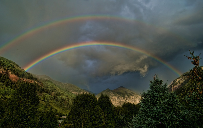 Telluride Double Rainbow over Ajax Peak