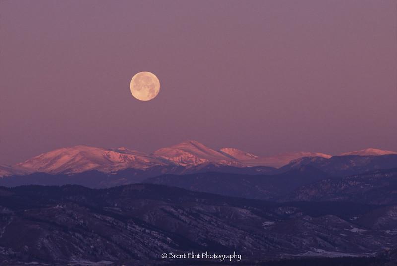S.1071 - moon over Mt. Evans, Dougals County, CO.