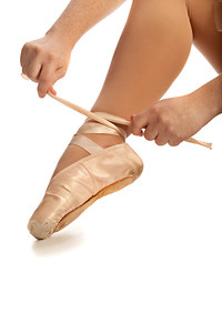 Old Pointe Ballet Hands and Foot Closeup