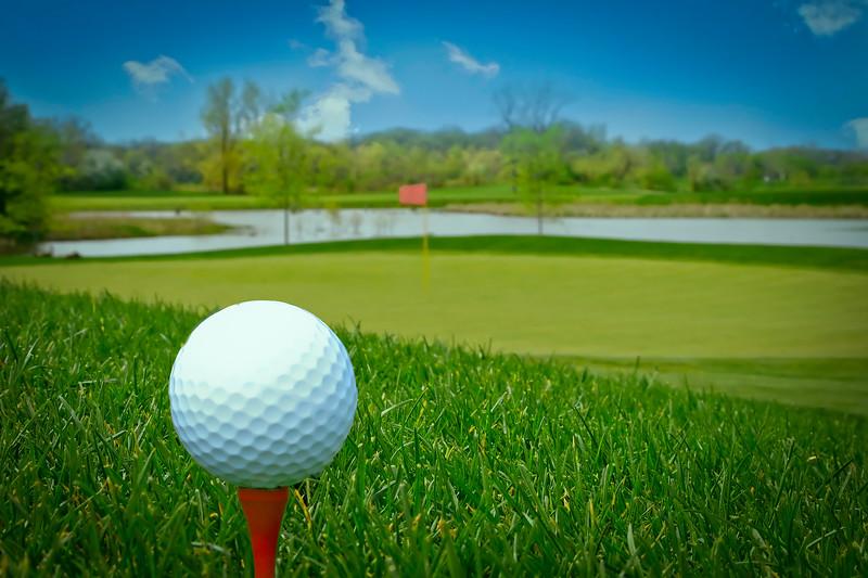 closeup golf ball on the ground