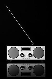 White Digital Radio Black Background