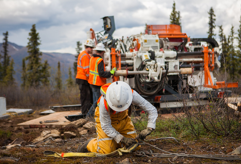 Boart Longyear's innovative, low impact, core sample drill rig being assembled at a remote Alaskan wilderness location at the Pogo Mine.