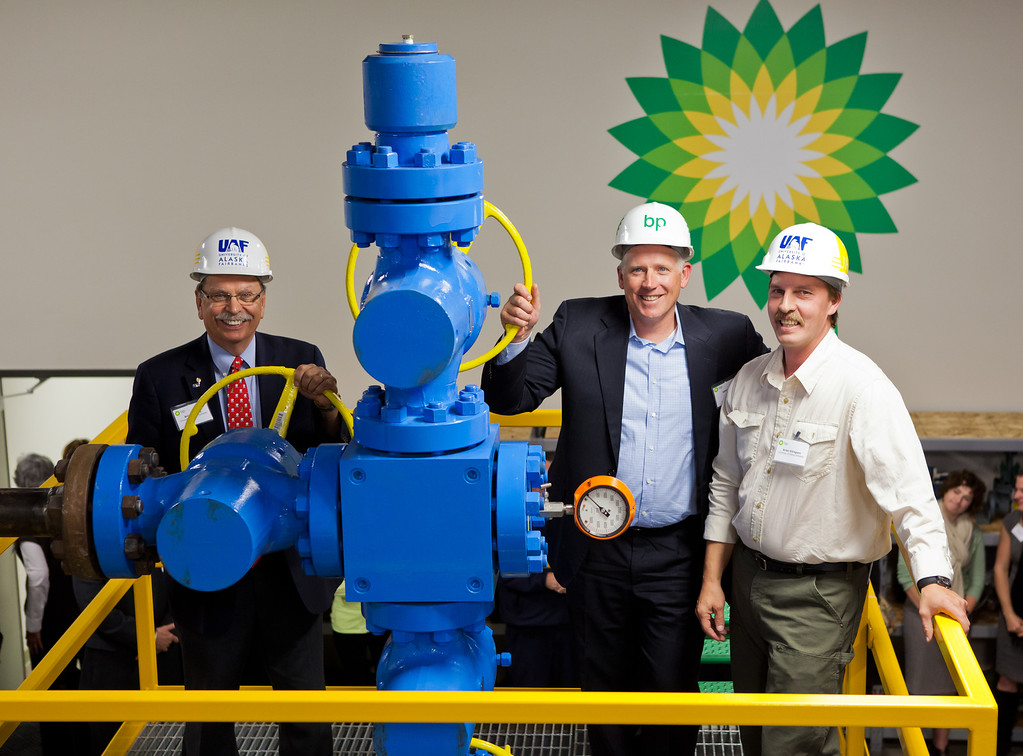 BP Exploration Alaska Inc donates Oil Wellhead to UAF Community and Technical College process technology program.