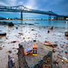 JD Travel Bottles by Mystic River with Tobin Bridge from Chelsea Massachusetts