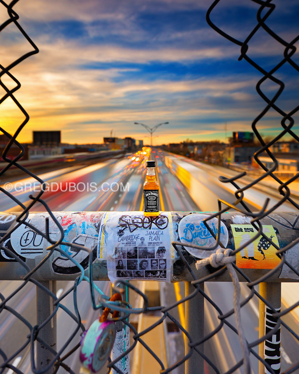 JD Travel Bottle with Mass Pike facing West in Allston Neighborhood