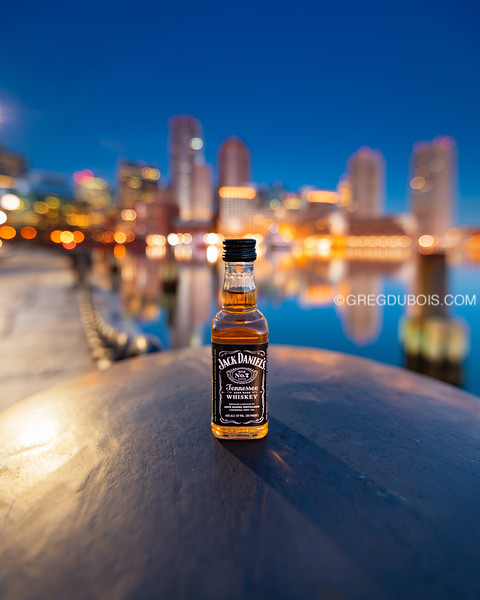 JD Travel Bottle at Fan Pier with Downtown Boston Skyline