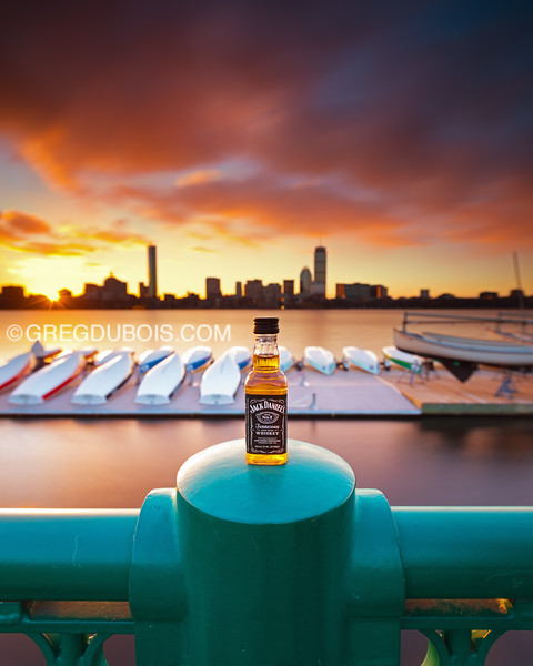 JD Travel Bottle by Charles River in Cambridge with Back Bay Boston