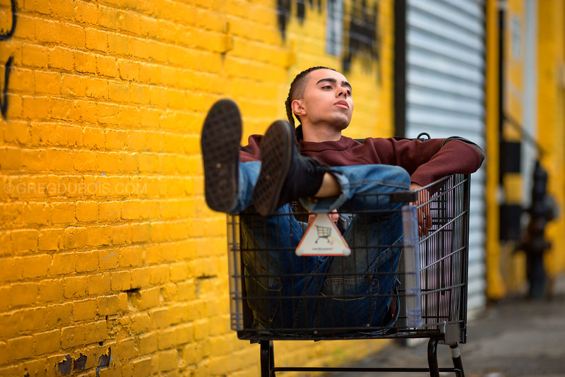 Ezekiel Vicente in Shopping Cart, Allston Village Boston Massachusetts