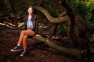Lisa in Arnold Arboretum on Tree Branch