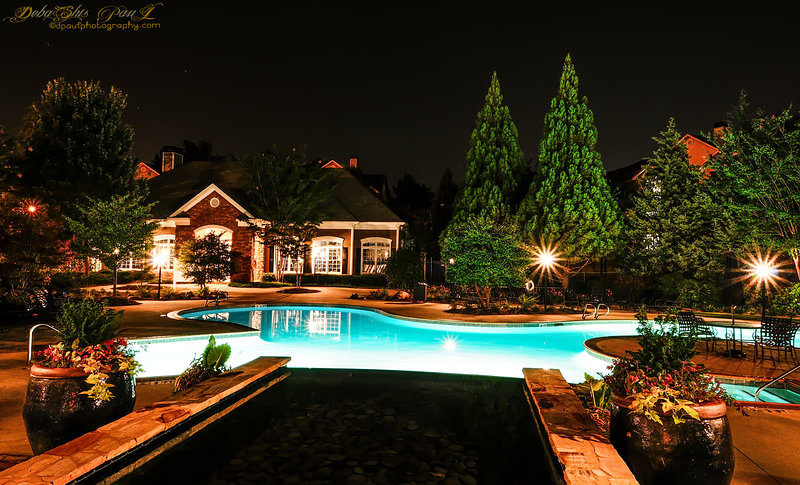 Swimming Pool view at night @ AMLI At Northwinds - Alpharetta, Georgia - USA