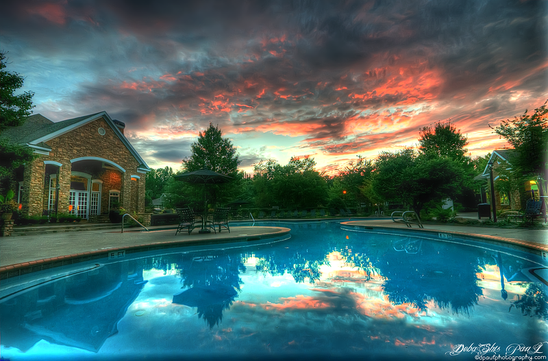 Swimming Pool view during sunset @ AMLI At Northwinds - Alpharetta, Georgia - USA