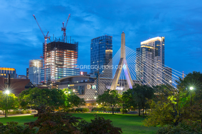 Boston Garden Development with Zakim Bridge over Paul Revere Park at Dawn